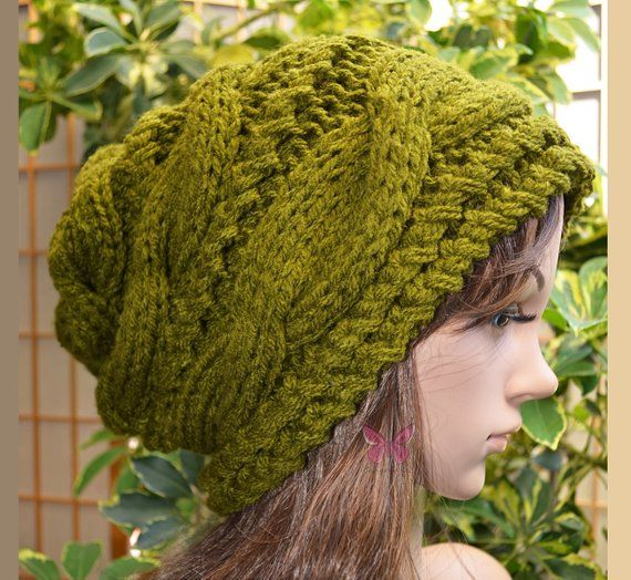 NEW Olive Green Winter Slouchy cable style beanie knit hat - womens ... c385400a9e56