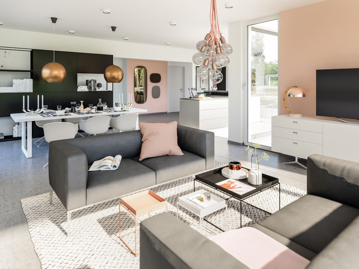 inneneinrichtung wohnzimmer mit essbereich haus ideen fertighaus concept m 154 bien zenker. Black Bedroom Furniture Sets. Home Design Ideas