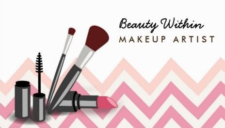 Girly pink and peach chevron makeup brushes makeup artist business girly cosmetology business cards reheart Image collections