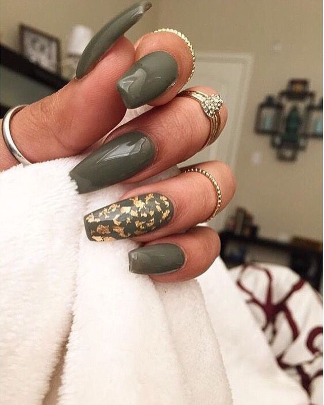 Olive Green Gold Nails Green Acrylic Nails Olive Nails Matte Nails Design
