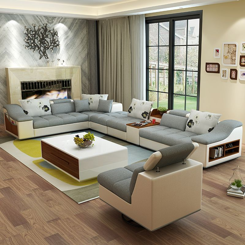 Mobili soggiorno moderno a forma di U in pelle tessuto angolo divano ...