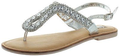 c587f6350984 Not Rated Dragonfly Women s Rhinestone Jeweled Thong Sandals Open ...