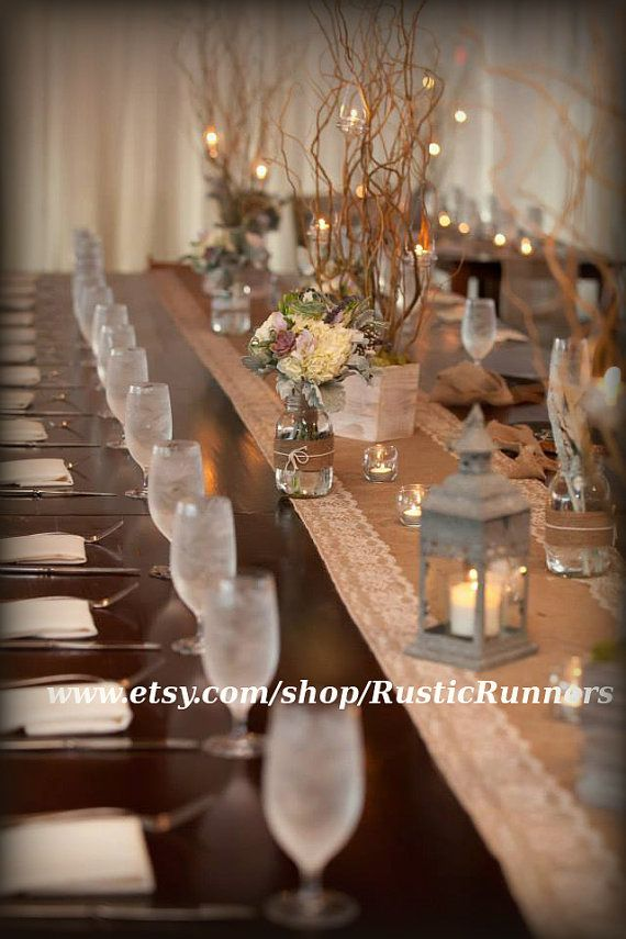 Rustic Charm Wedding Burlap And Natural Color Lace Table Runner Shabby Chic Bridal Shower Party Event 14 X 72