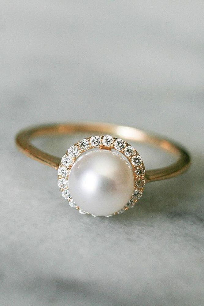 diamond pearl ring band unique engagement wedding jewellery rose set rings matching gold