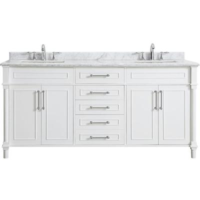 Home Decorators Collection Sonoma 36 In W X 22 In D Bath Vanity In White With Carrara Marble Top With White Sinks 8105100410 The Home Depot Double Sink Bathroom Vanity Double