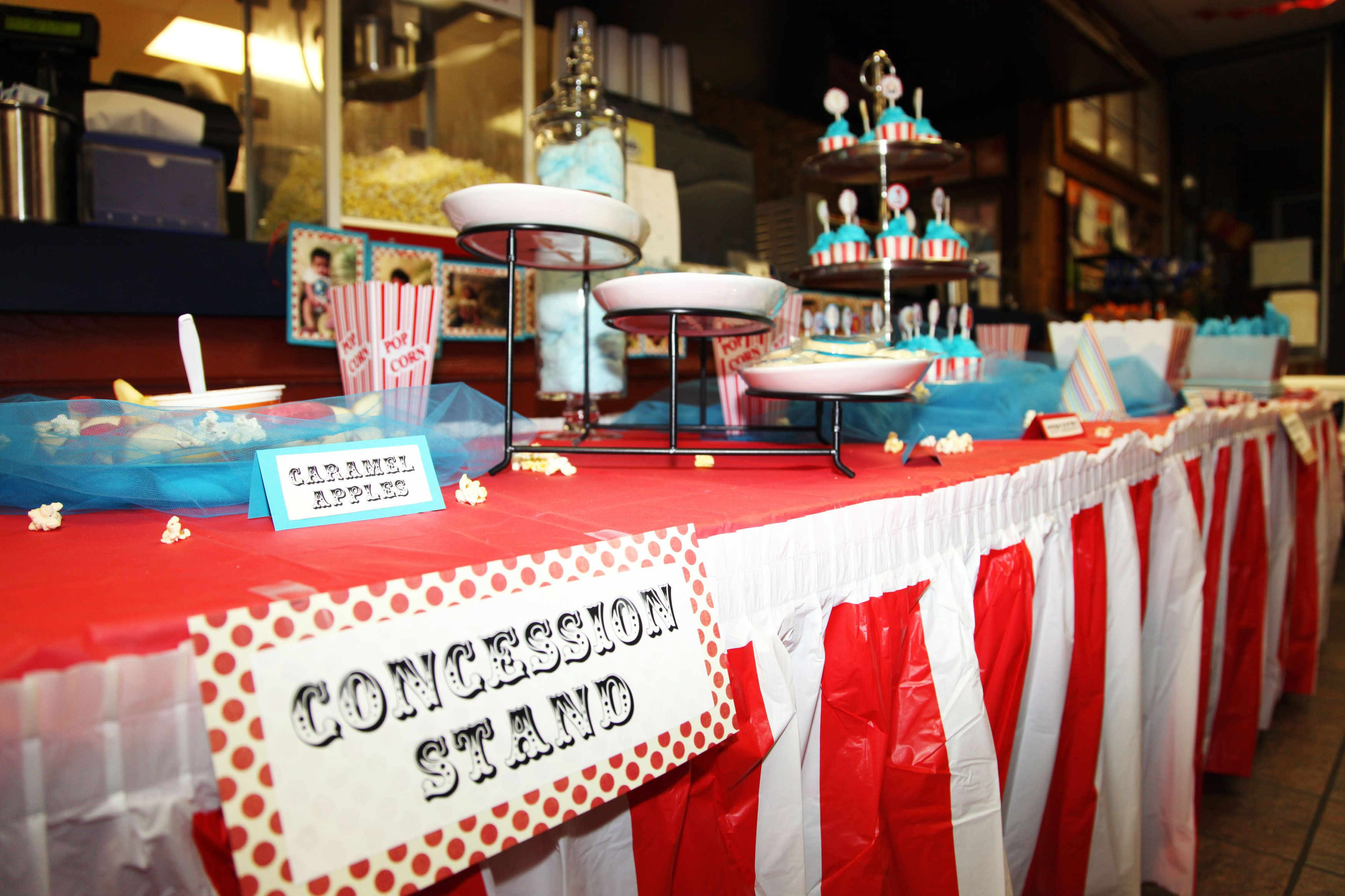 Buffet table skirting - Vintage Circus Birthday Party By Abbie Pari Concession Stand Signs Posted On Buffet