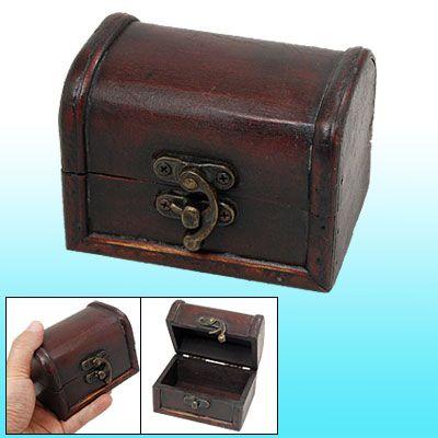 Metal Buckle Wooden Antique Jewelry Organizer Storage Box