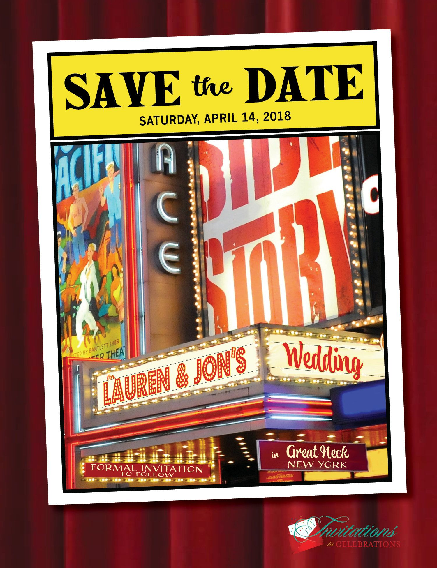 Save The Date Cards With Envelope Your Names In Lights On Broadway Marquee Qty 50 By Itcoa On Etsy Save The Date Cards Broadway Wedding Save The Date