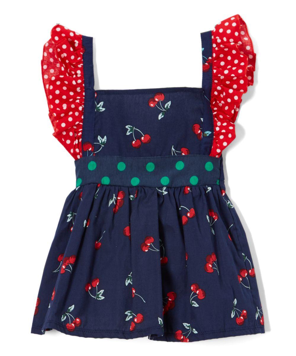 ef7e9a318b Dark Blue Cherry Angel-Sleeve Dress - Toddler & Girls | Products