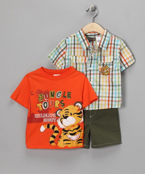 Take a look at this Orange Tiger Shorts Set - Infant on zulily today!