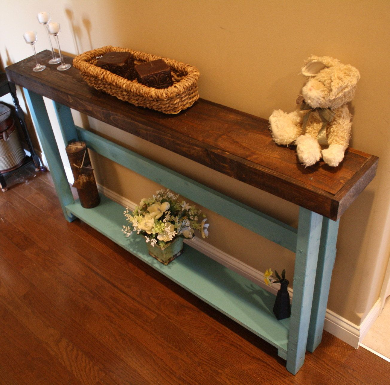 Unique Primtiques Dark Walnut Stained Mountain Blue Painted 5Foot