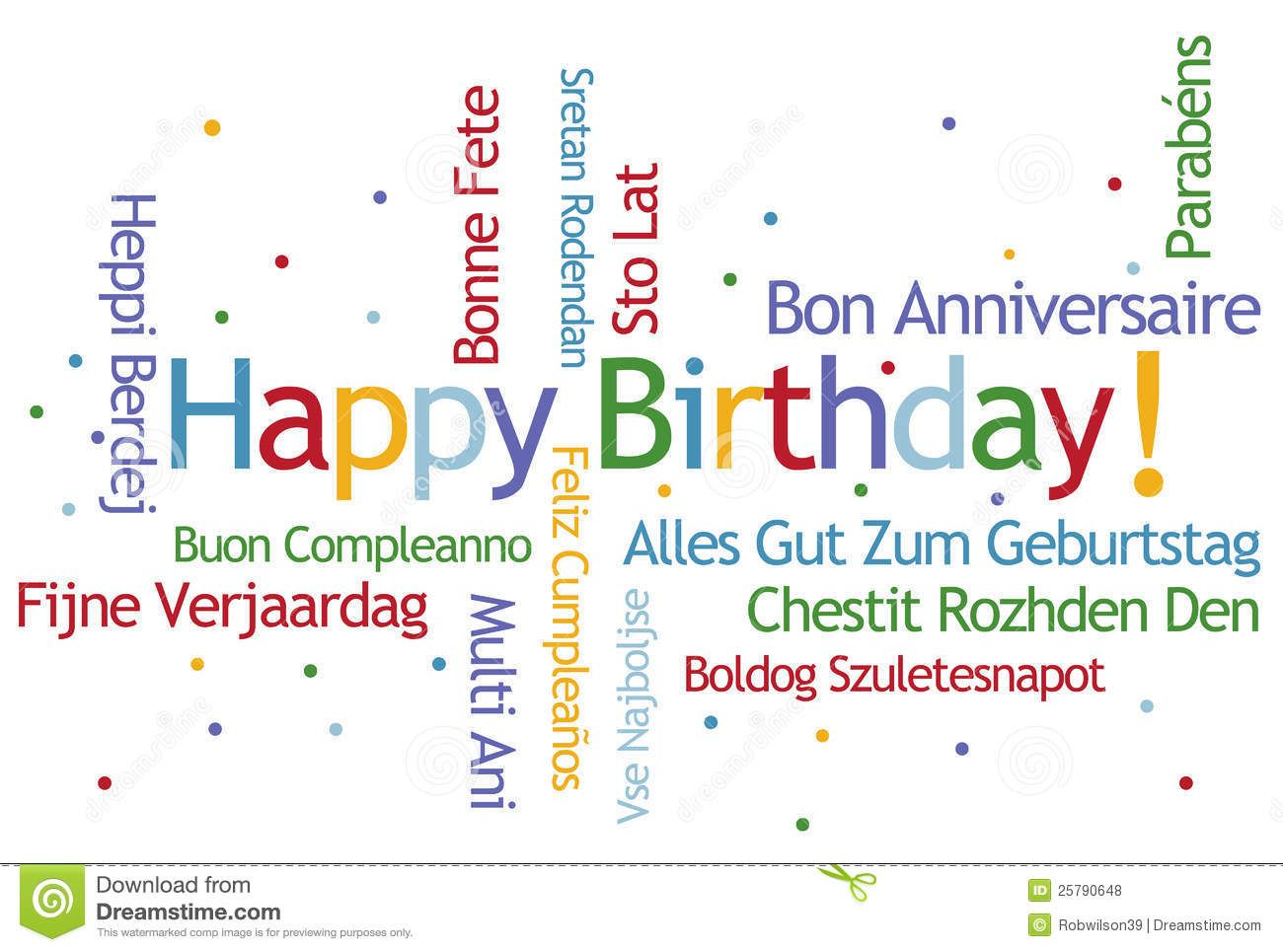 Photo about Happy Birthday Word Cloud in Different Languages ...