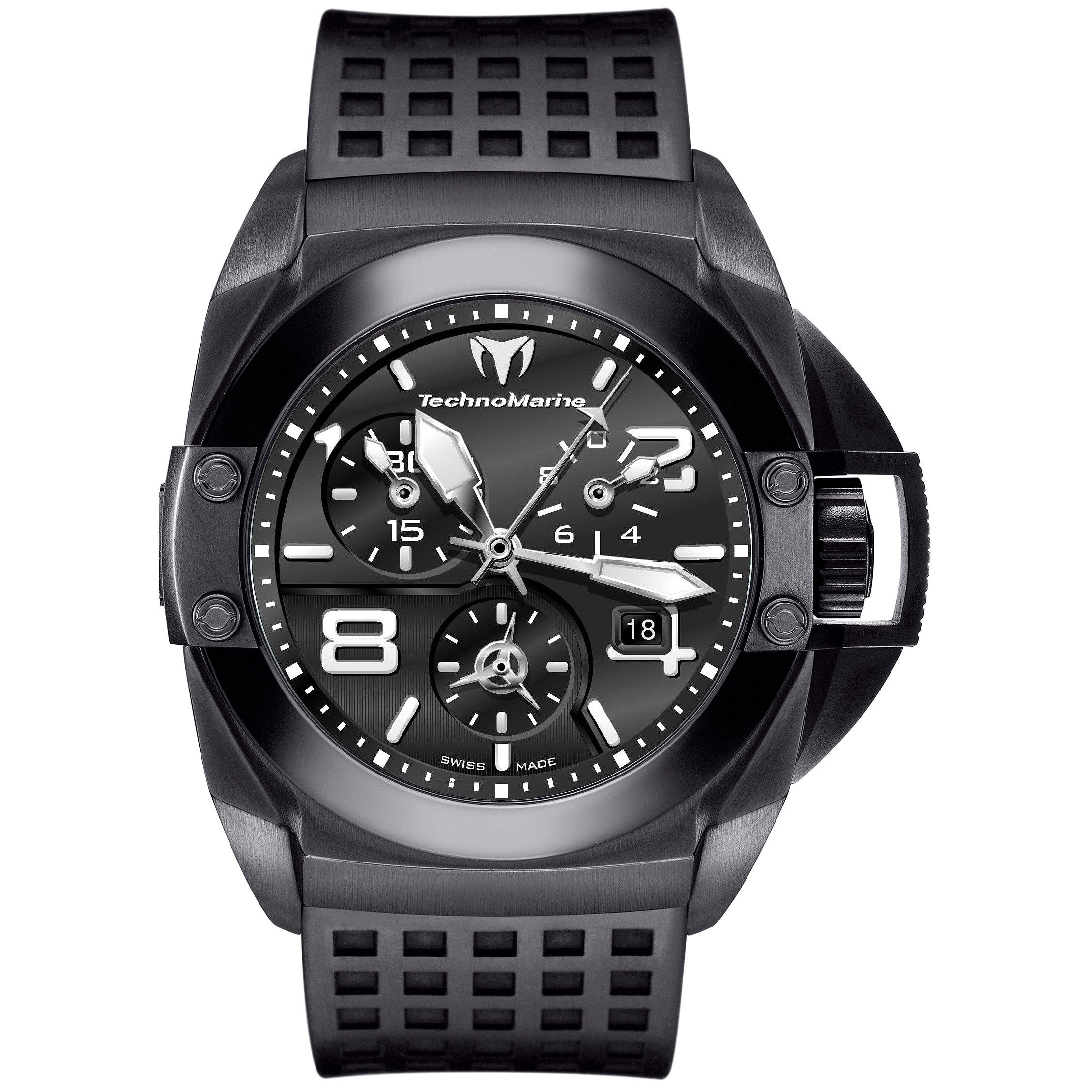 accessories accuswiss product black steel lyst mens watch automatic gallery normal bulova men tellaro pvd watches chronograph s bracelet stainless