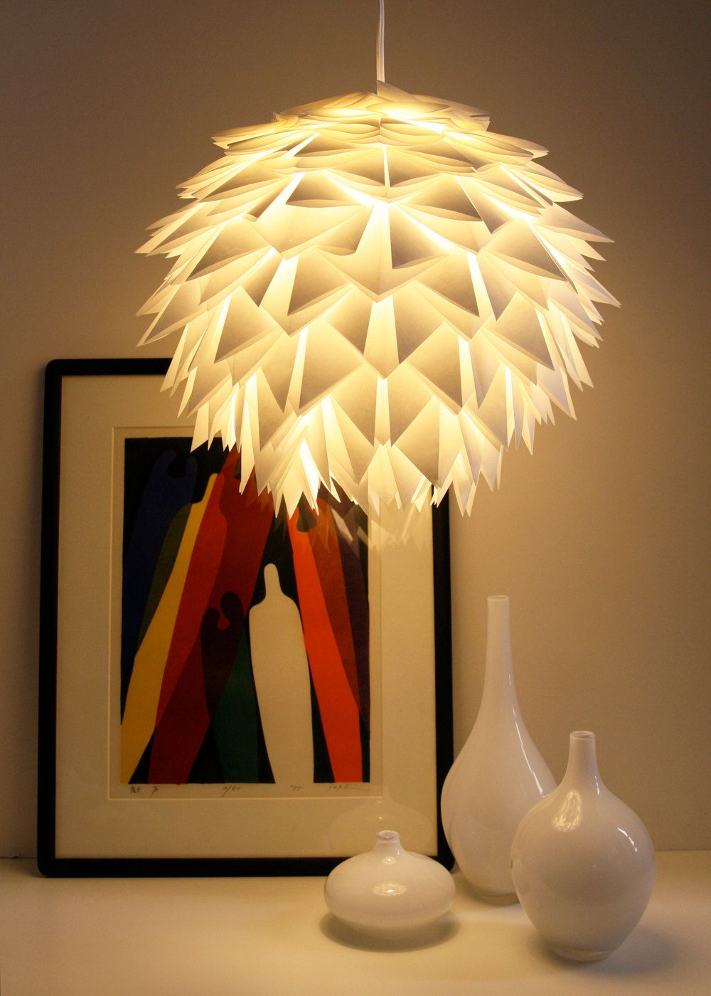 Ditch the disco ball and opt for these other worldly reusable white spiky pendant light overlapping folded origami paper on a paper lamp shade very pretty mozeypictures Choice Image