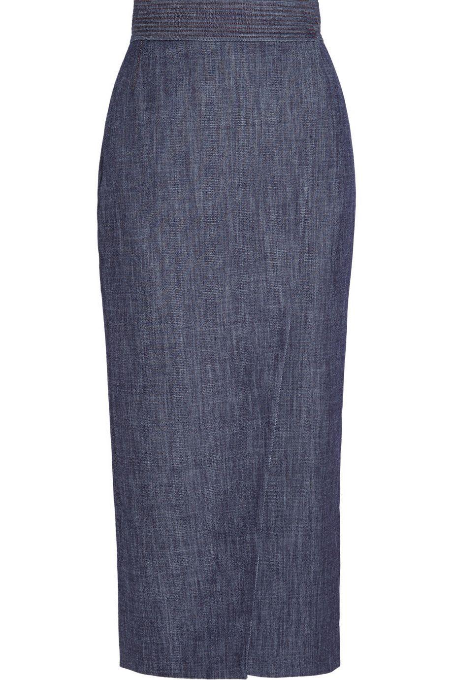 Adam Lippes|Wrap-effect denim midi skirt|NET-A-PORTER.COM