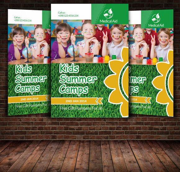 Kids Summer Camp Flyer Template By Leza On Creative Market  Stuff