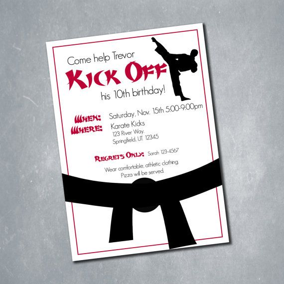10 Martial Arts Karate Tae Kwon do Red Black and White Karate – Martial Arts Birthday Invitations