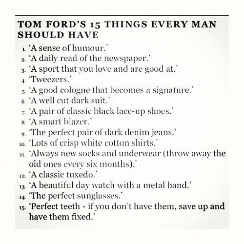 Tom Ford;s 15 Things Every Man Must Have
