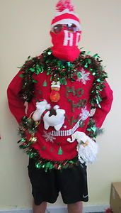 Hysterical Cow Animated Musical Lightup Ugly Christmas Sweater Mens