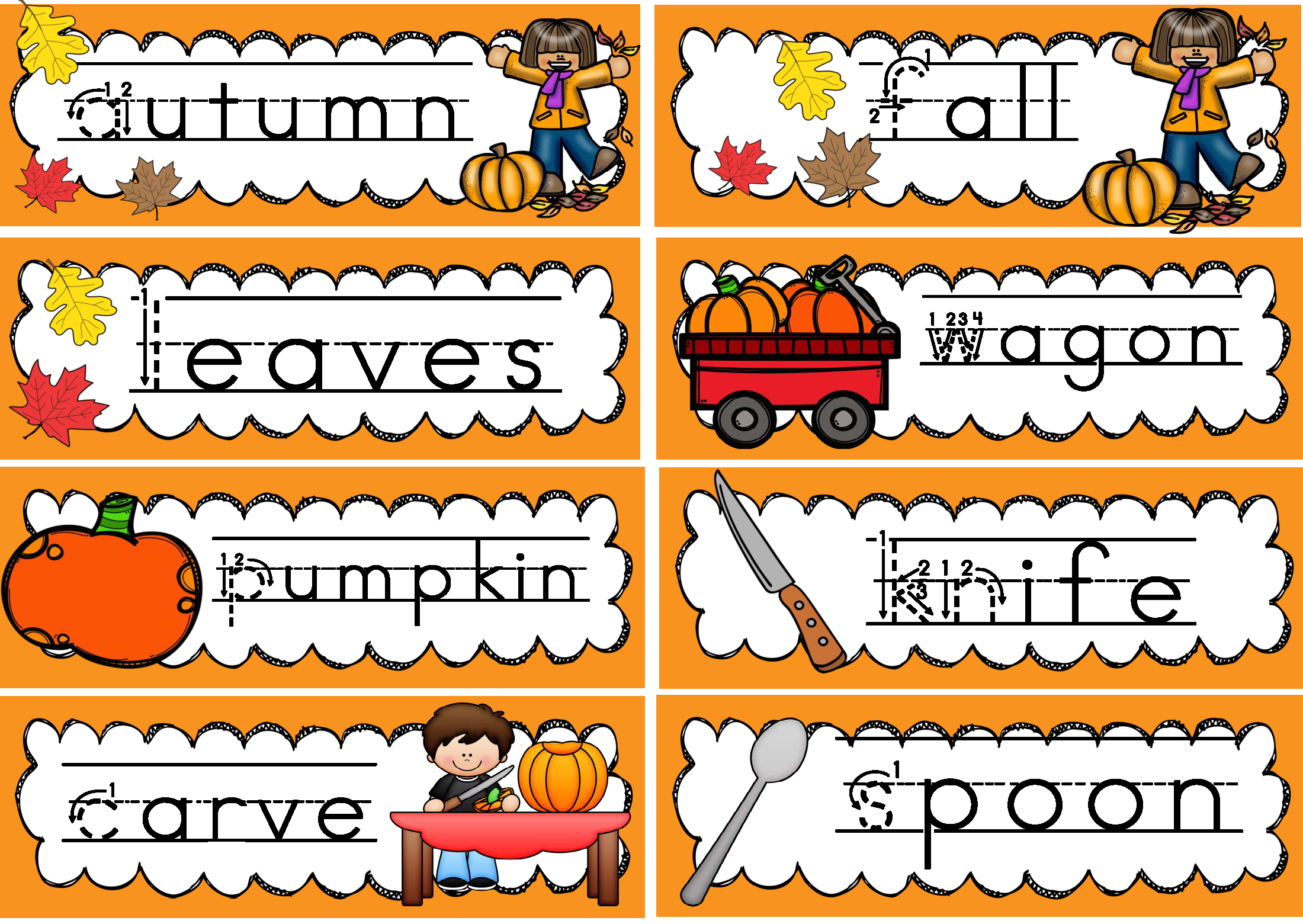 Word Wall And Tracing October Fall Handwriting