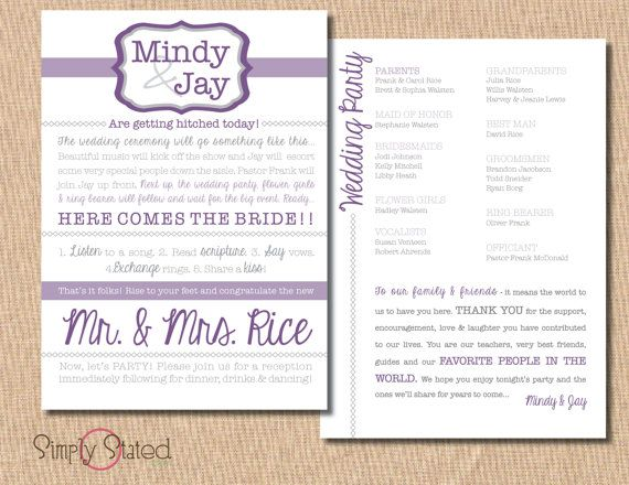 Modern Wedding Program 5x7 Follow Us Signaturebride On Twitter And Facebook