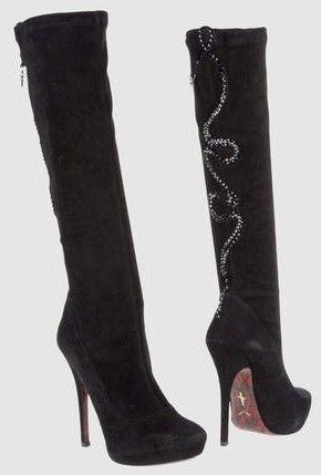 Stivali neri con tacco alto e inserti in strass per Cesare