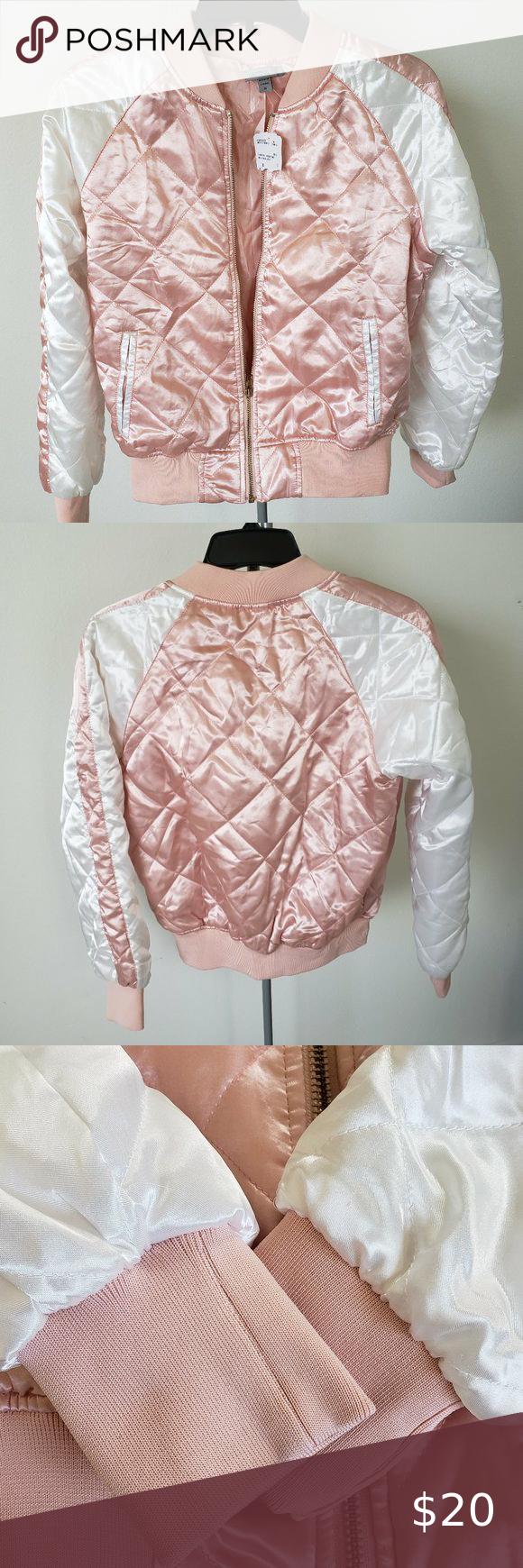 Cute Pink White Satin Bomber Jacket Small Nwt Satin Bomber Jacket Black Faux Leather Jacket Lace Bomber Jacket [ 1740 x 580 Pixel ]
