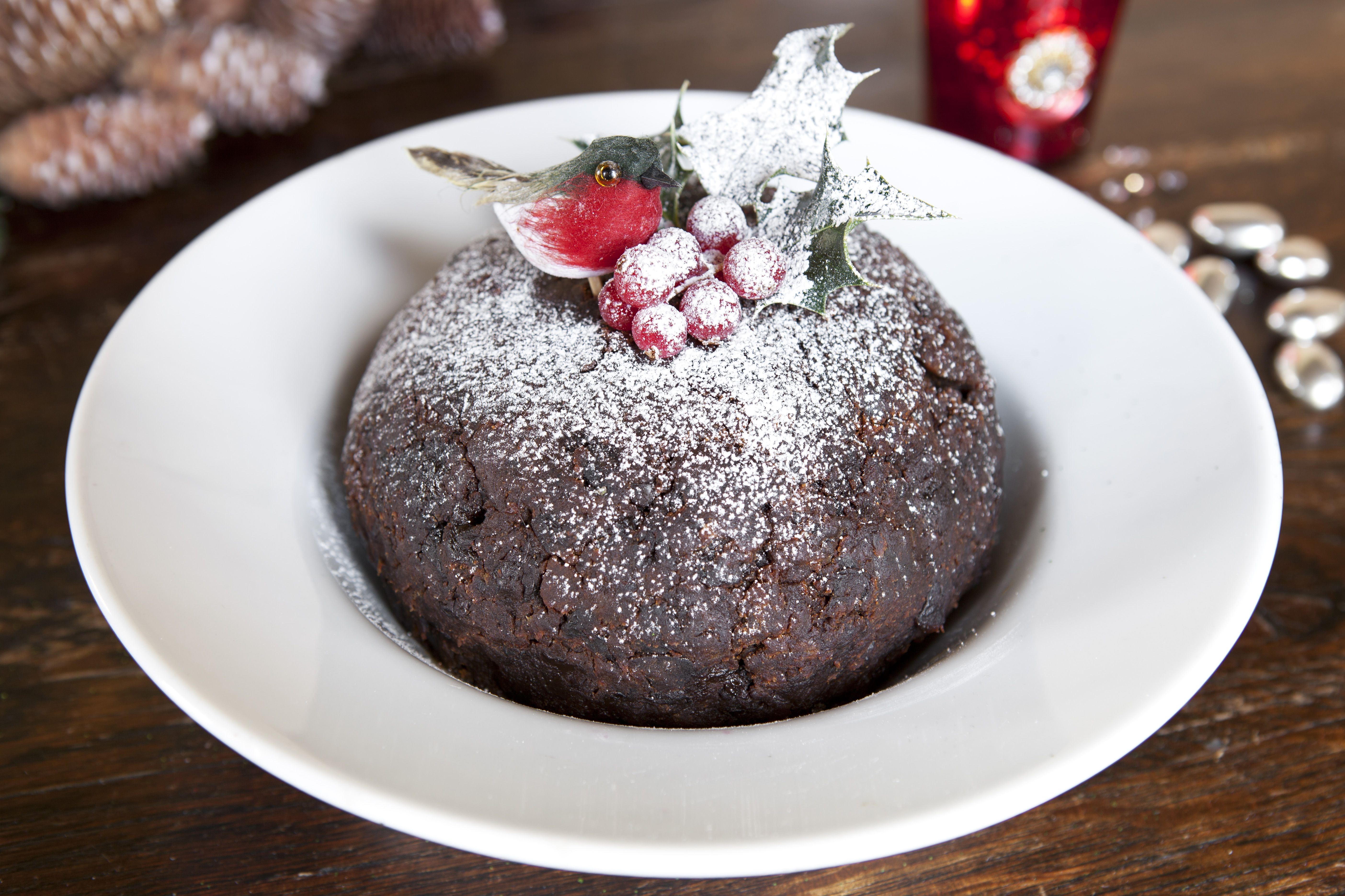 Traditional Bumpkin Christmas pudding with Somerset apple brandy sauce Don't you love our little ...