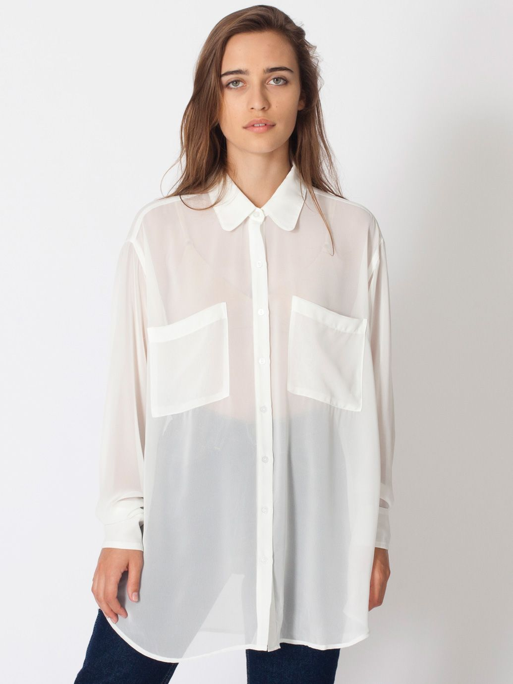 Chiffon oversized button up long sleeves women 39 s for Women s collared button up shirts