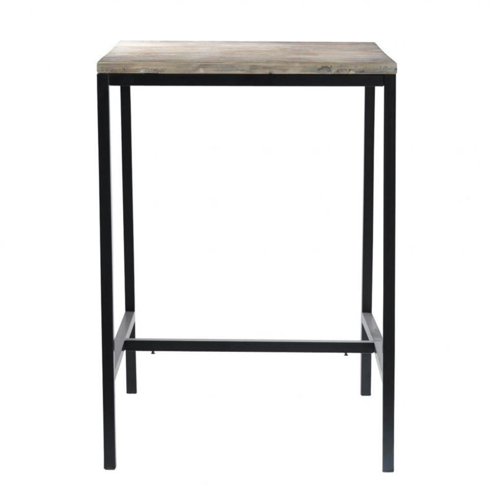 table à manger haute en sapin et métal 2/4 personnes l75 | tall
