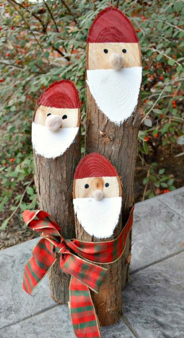 weihnachtsdeko basteln holz schneiden weihnachtsmann,