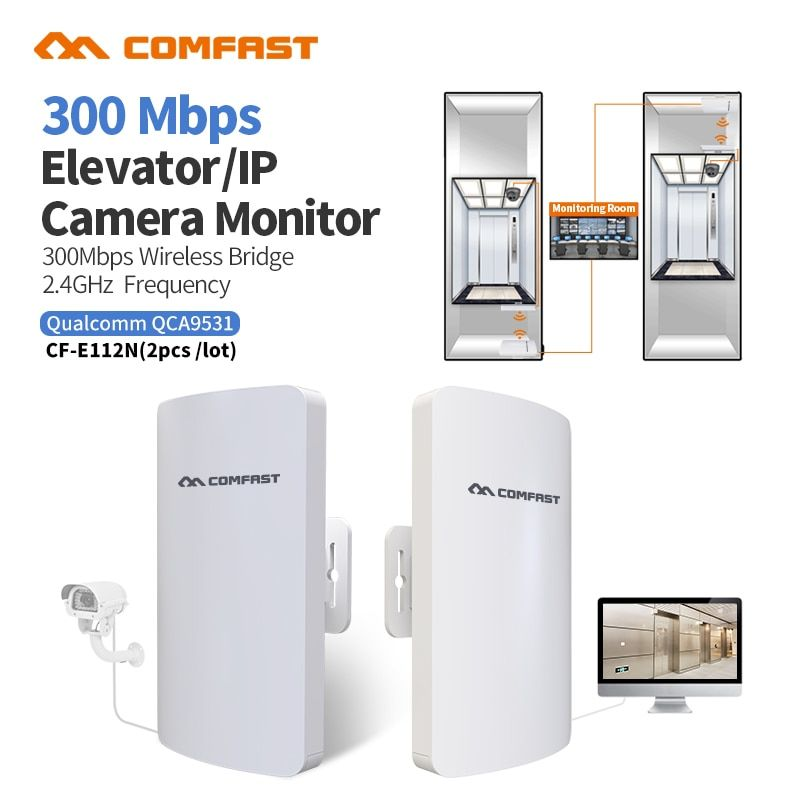 2pc COMFAST CF-E112N Outdoor Wireless bridge 1-2 km Network