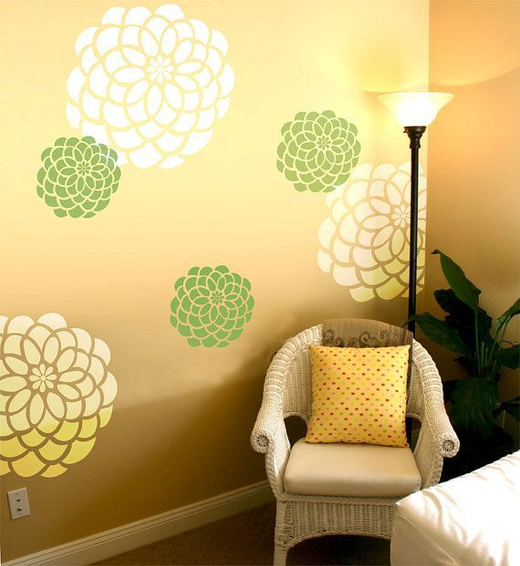 Large retro Wall Stencil Patterns | Wall Stencil Dalia Large size ...