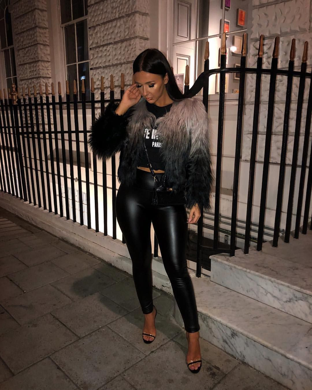 """2efddf17719f08 RUBY FAIRS on Instagram: """"Officially time to bring out the leather leggings  🖤 Fur jacket & leggings from @misspap the fit of these leggings are bomb"""""""