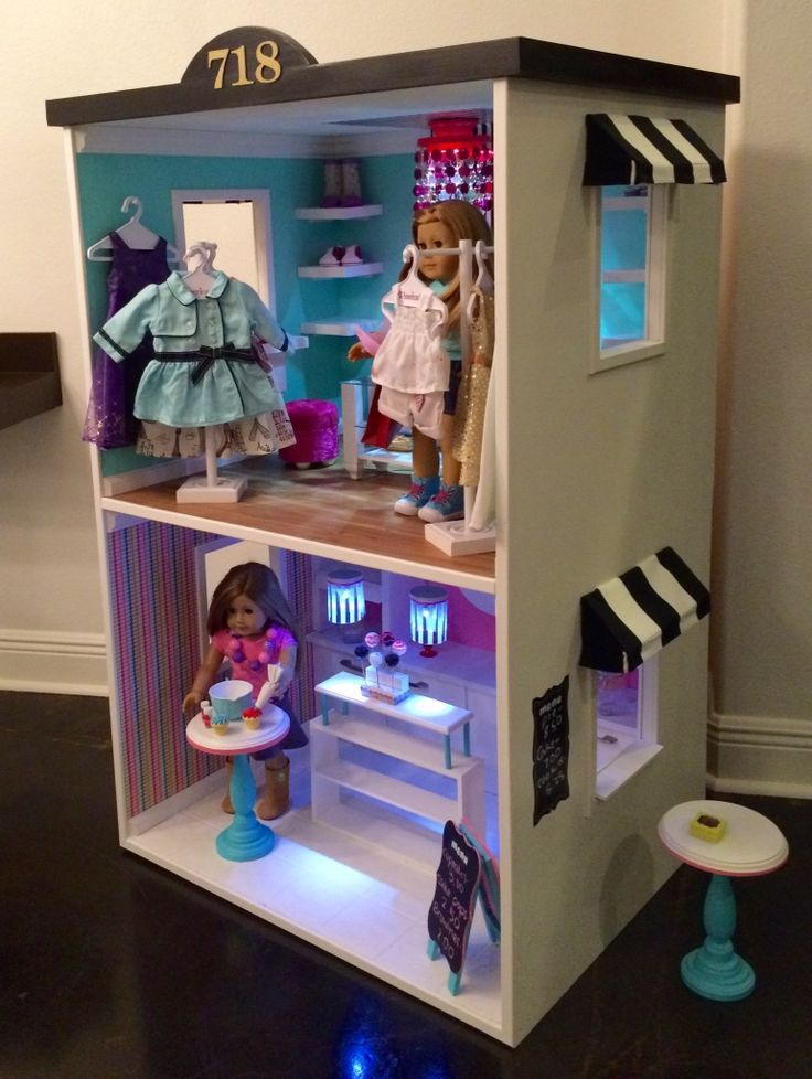 bakery and boutique store front for american girl dolls all set up