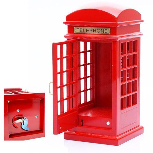 Wooden Retro Telephone Booth Clockwork Spring Movement Music Box Gift Musicbox