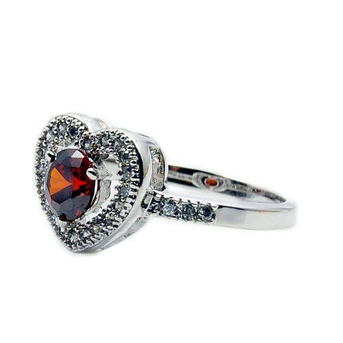 Sterling Silver Red Cubic Zirconia Heart Ring, Size 5.75