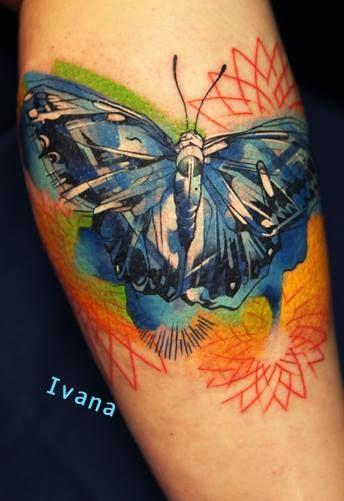 Moth Butterfly Geometric Watercolor Tattoo Ivana Belakova