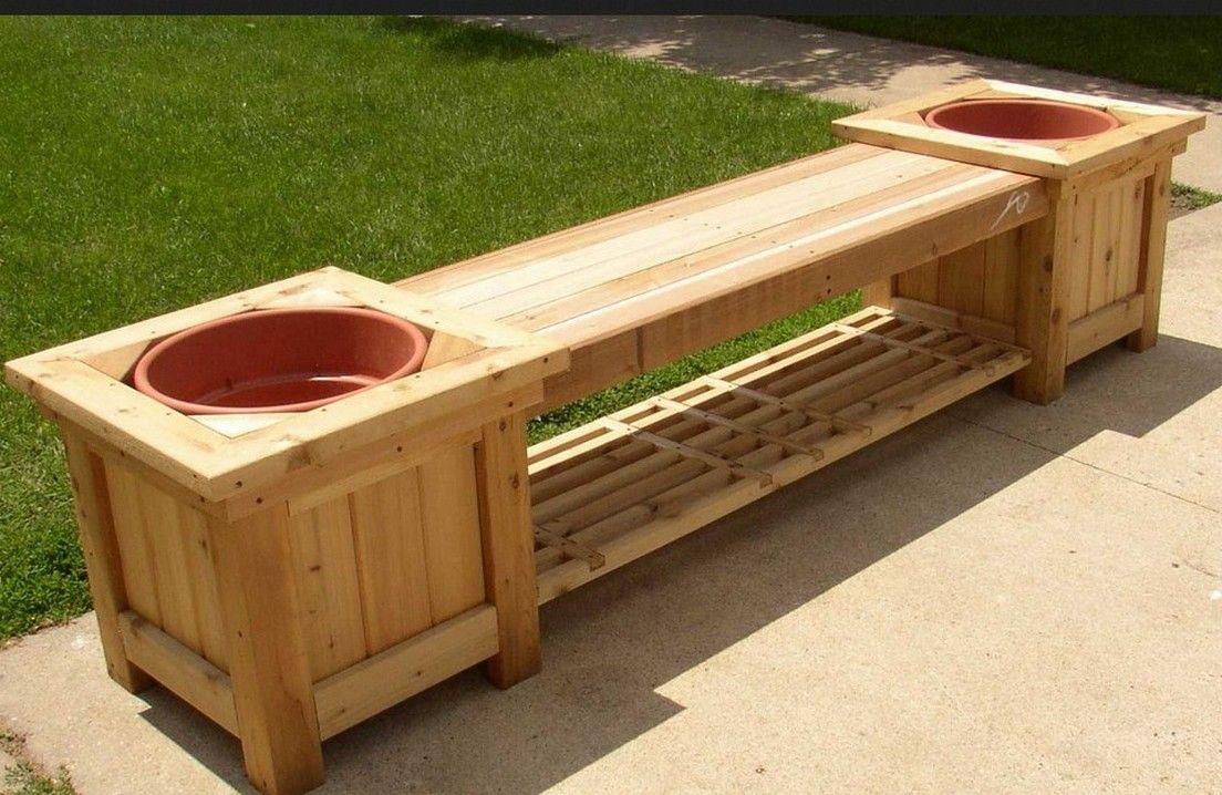 Natty Concept Of Cool Garden Bench Planter Plans Design