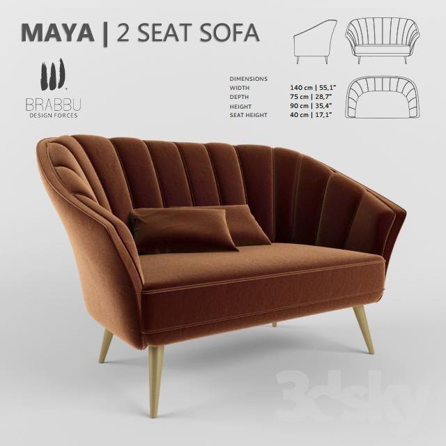 Sofa Maya 2 Seat Sofa Art Deco Sofa Sofa Seating