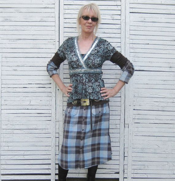 Upcycled Dress Western Style Dress 2piece Outfit by AnikaDesigns