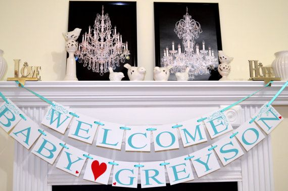 Welcome Baby Boy Banner Home Shower Decoration Its A Teal Red Decor Announcements Heart