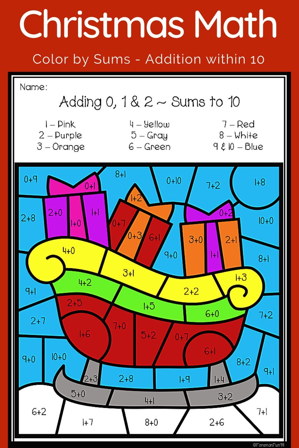 Christmas Color By Sum Addition 1st Grade Christmas Math Activities Holiday Math Differentiation Math [ 1500 x 1000 Pixel ]