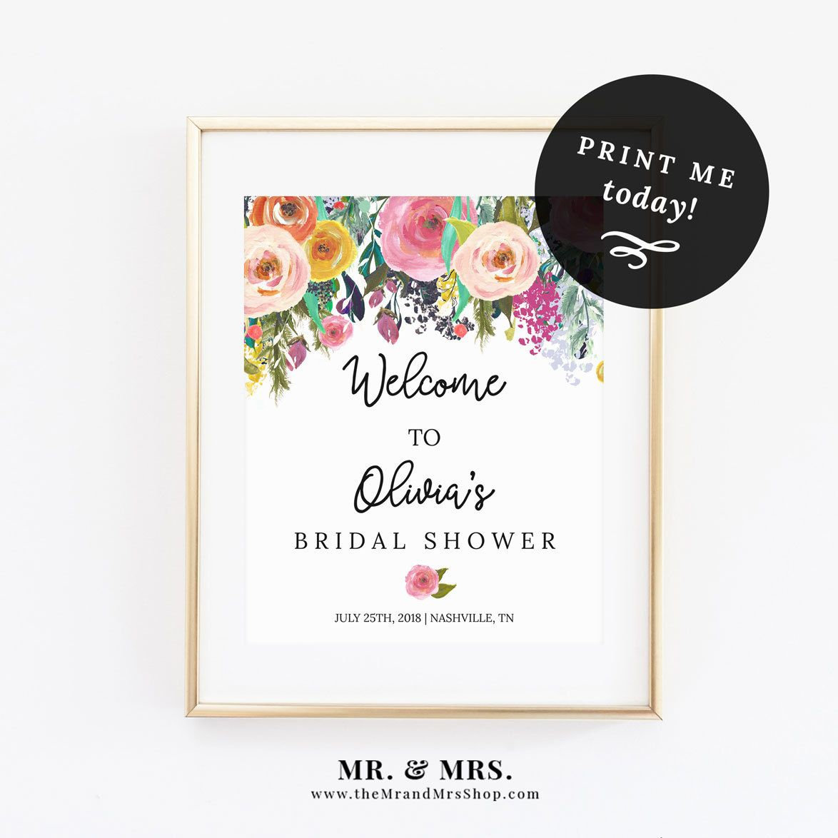 Editable Floral Welcome Sign template, Instant Download printable ...