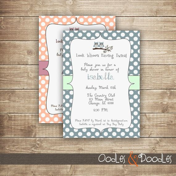 Twins Baby Shower Owl Invitation / Owl Polka Dots Baby by OandD