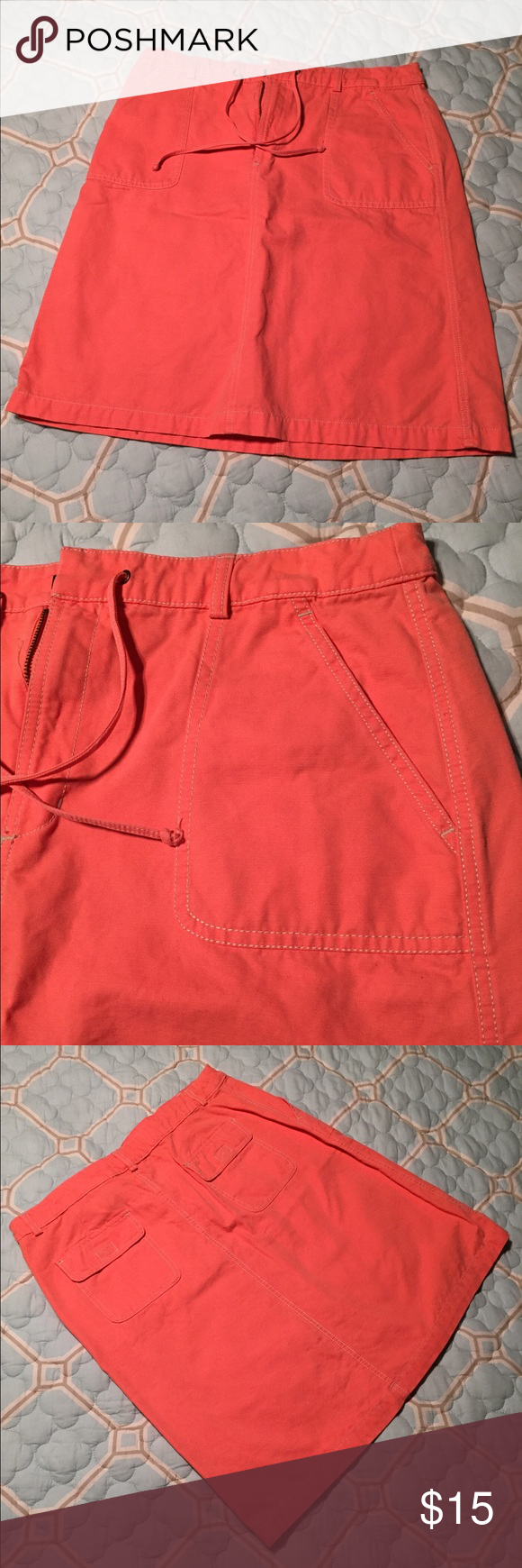 Coral Eddie Bauer Skirt Coral Eddie Bauer Skirt. Zipper and drawstring tie, along with side and back pockets. Eddie Bauer Skirts