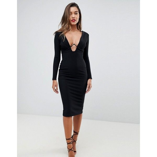 43eb7dca8350 ASOS Long Sleeve Exposed Underwire Bodycon Midi Dress ($69) ❤ liked on  Polyvore featuring dresses, black, petite, body con dress, midi cocktail  dress, ...