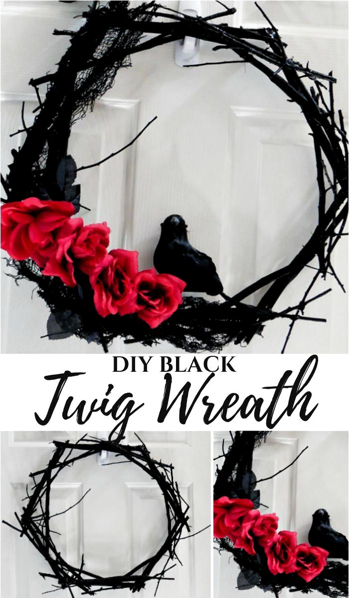 DIY Halloween Black Twig Wreath #halloween #halloweendecorations #halloweencrafts #halloweenwreath #wreath #halloweenideas
