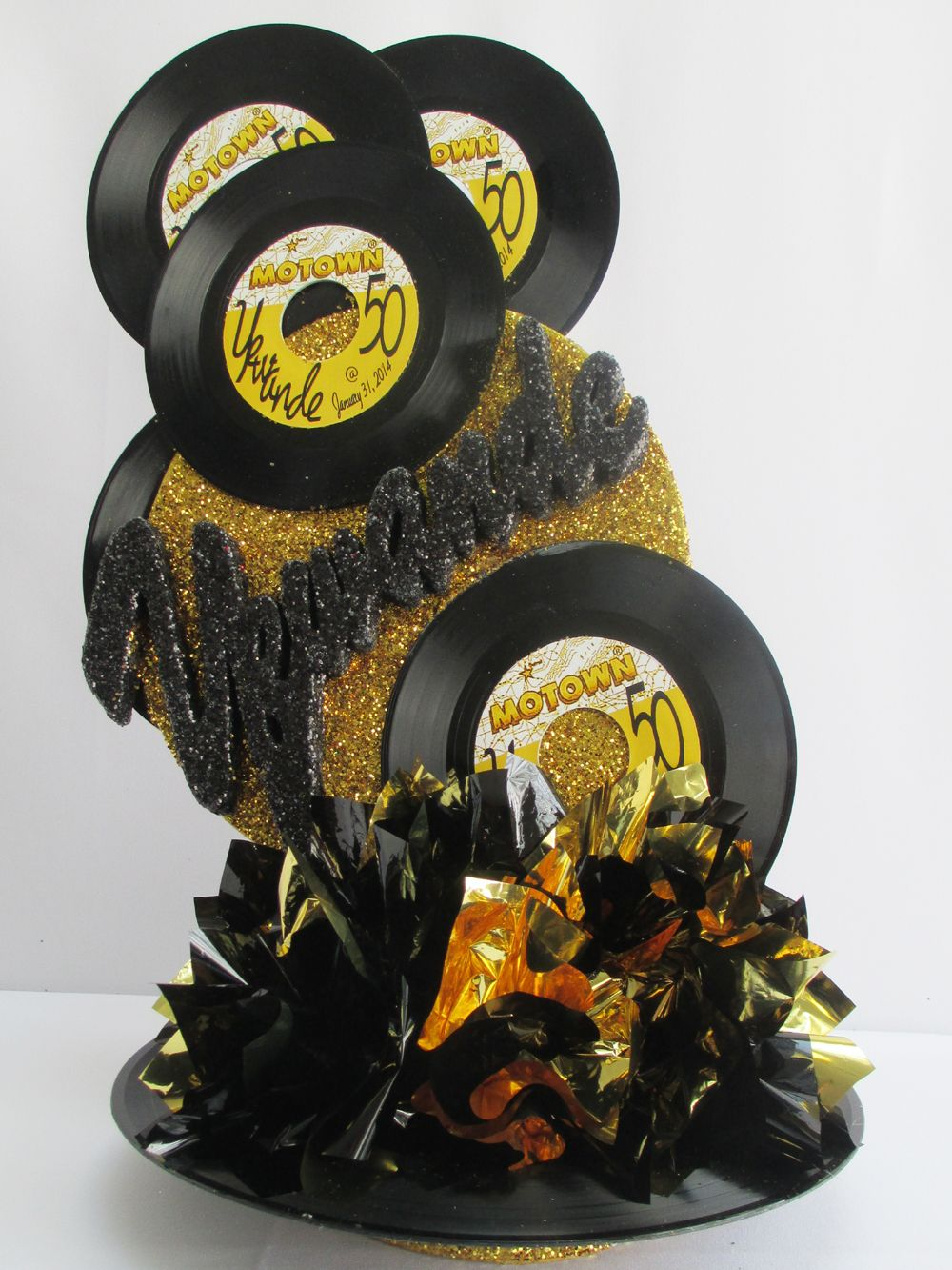Motown black gold records centerpiece motown themed for Vinyl record decoration ideas