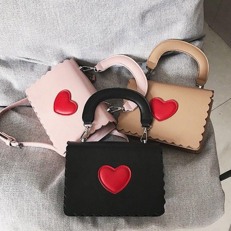 0512079af677 Black Hand Purse Red Heart Detail Cute Crossbody Bags